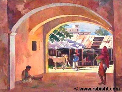 Village scpes - paintings by artist RS Bisht
